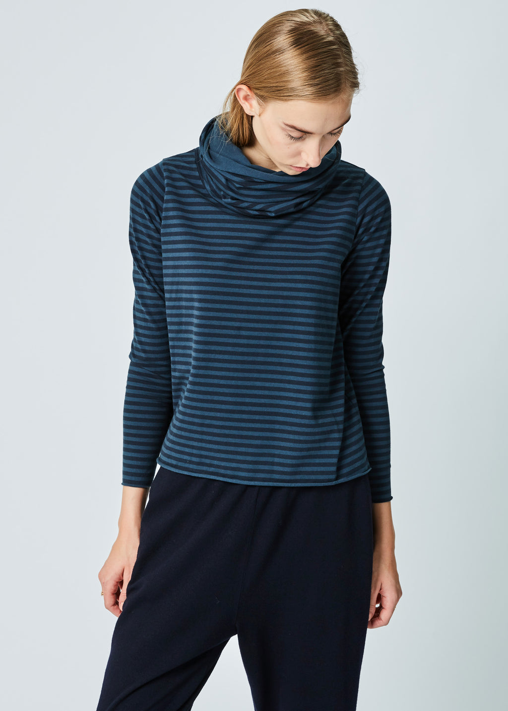 Antonia Striped Funnel-Neck Tee