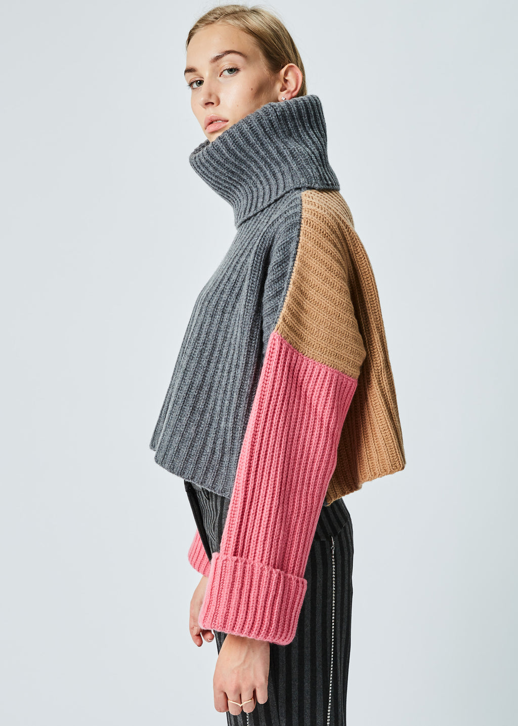 Cropped Knit Turtleneck Sweater in Grey and Pink and Camel by ...