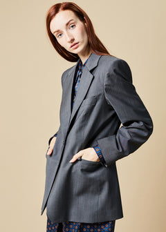 Single Button Pinstripe Blazer