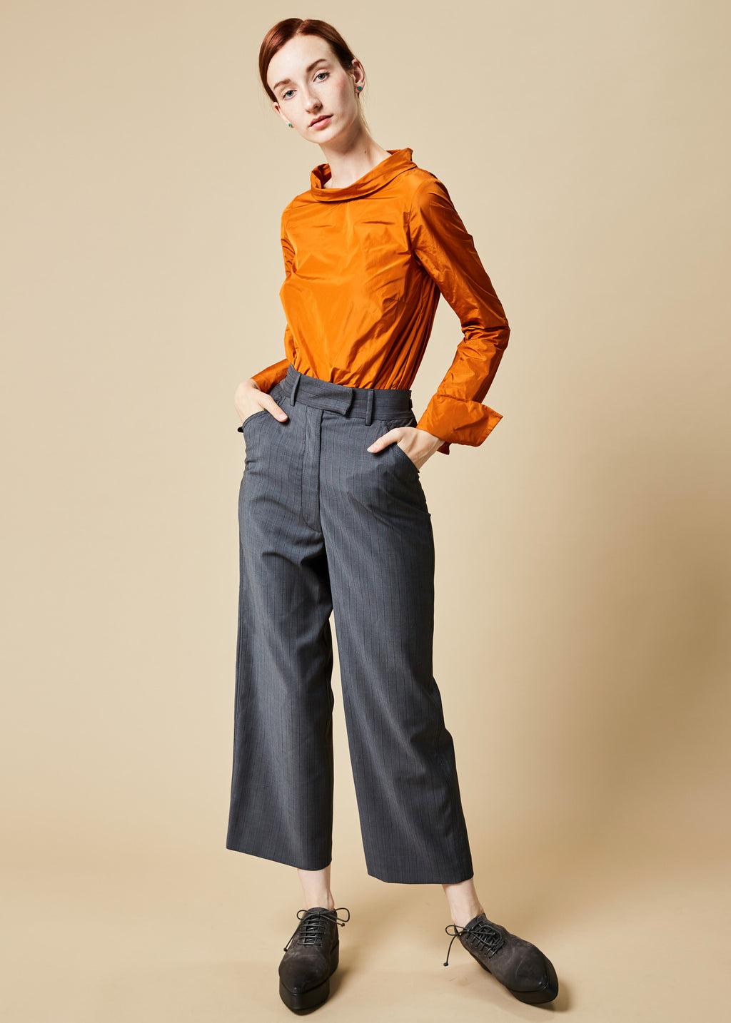 Cropped Pinstripe Cinch Pant