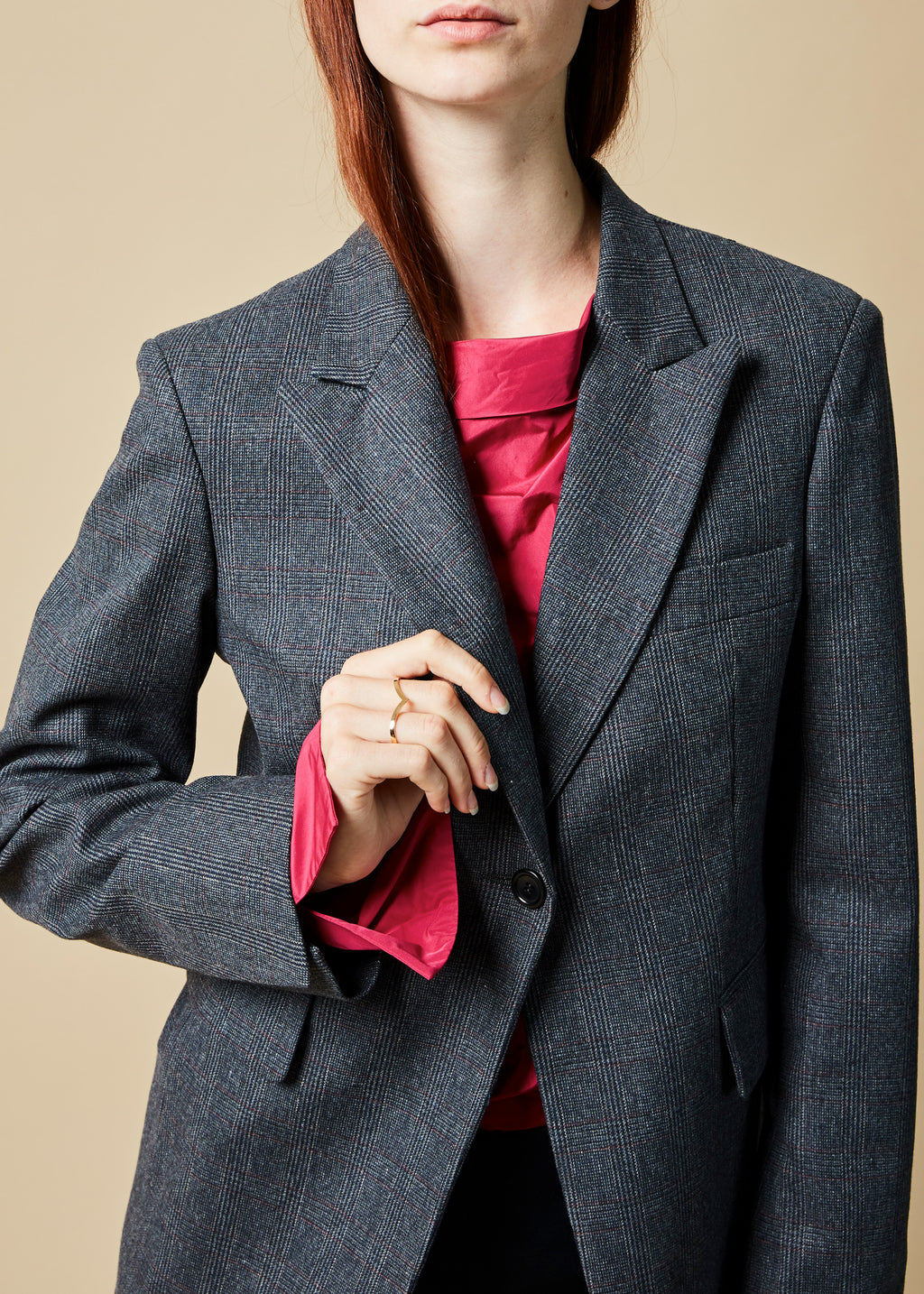 Houndstooth Plaid Wool Blazer