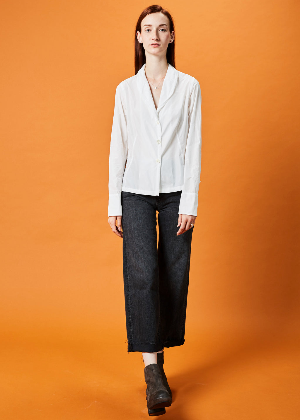 Shawl Collar Three-Button Blouse