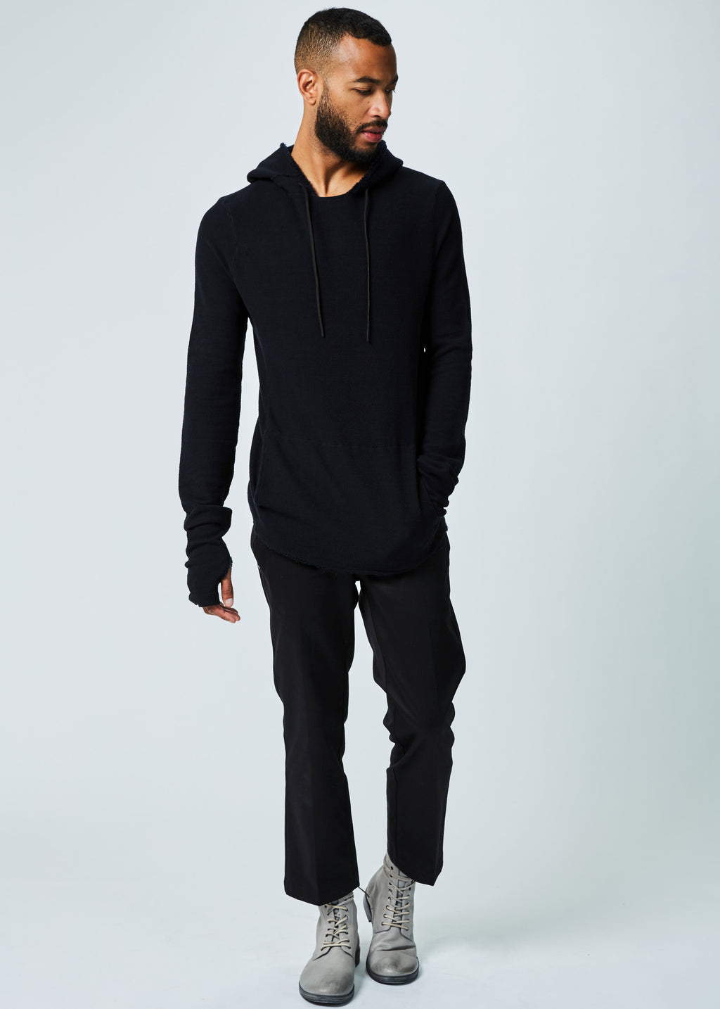 Hoody Raw Edge Sweater