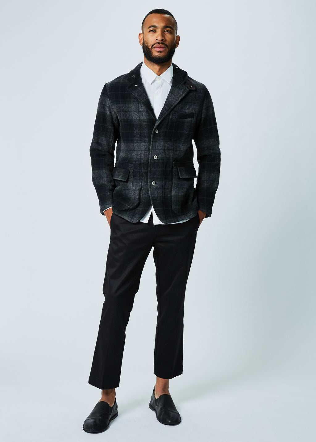 Unstructured Plaid Wool Blazer