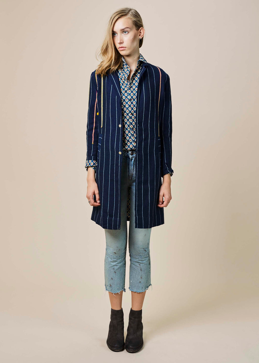 Beaded Pinstripe Wool Coat