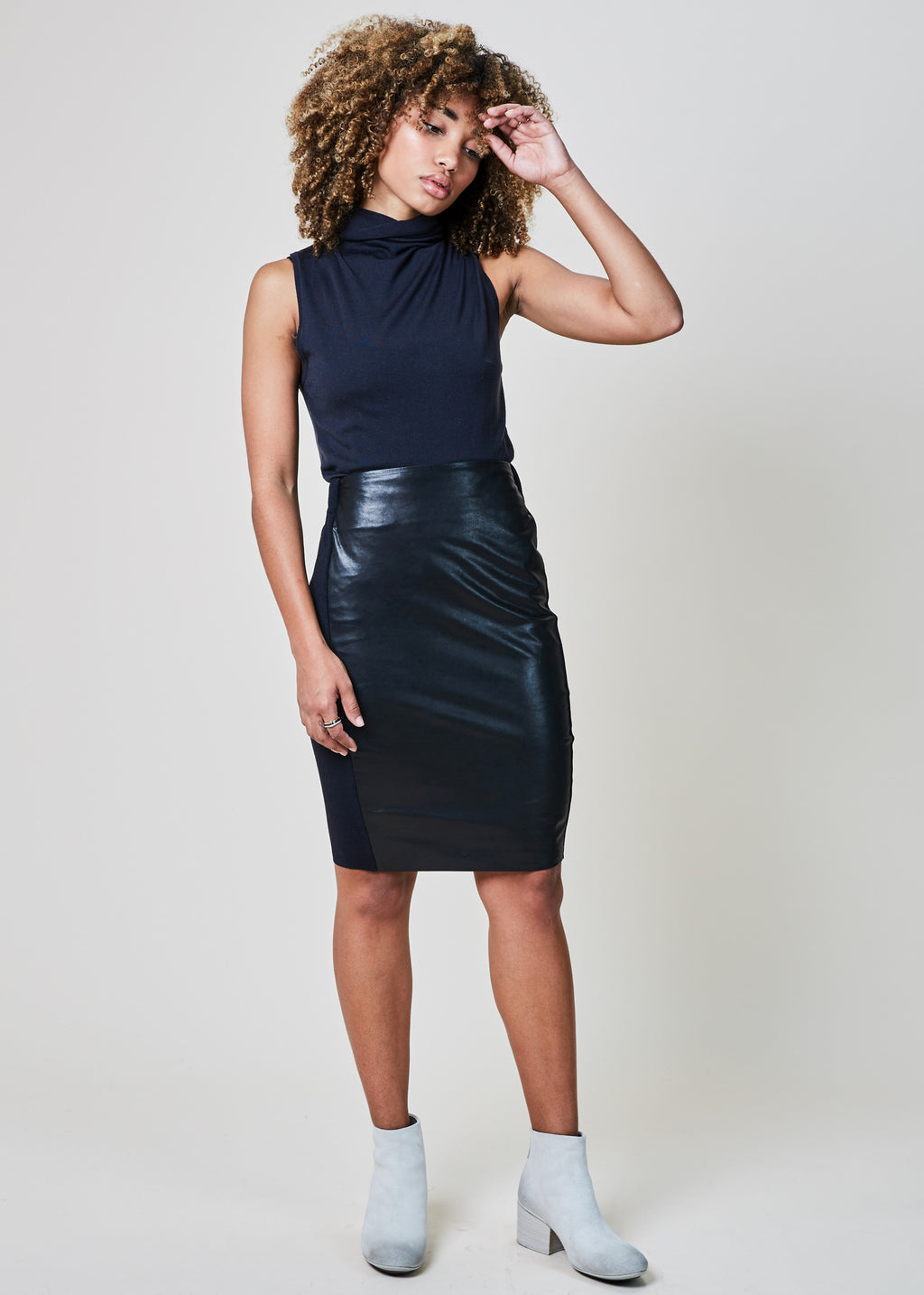 Lui Leather Front Skirt