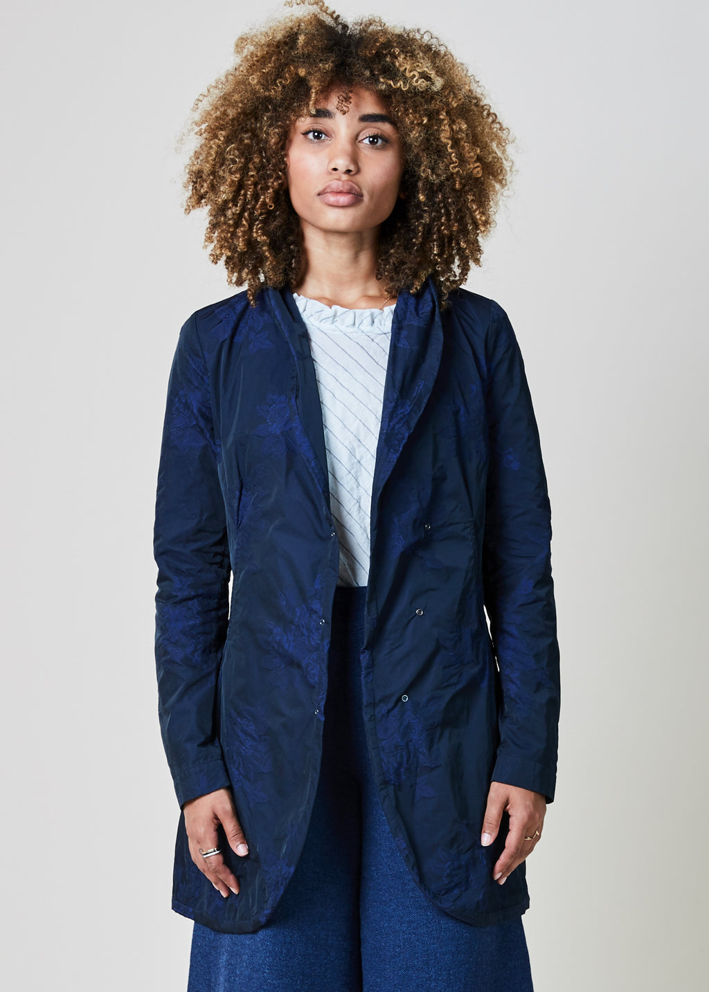 Embroidered Asymmetric Snap Coat