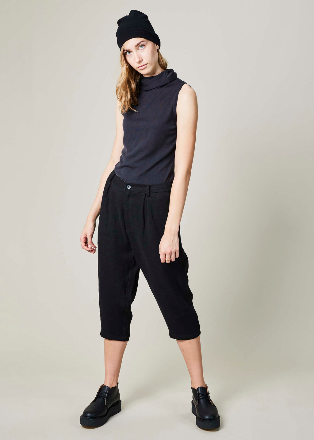 Linen Cropped Tailored Pant