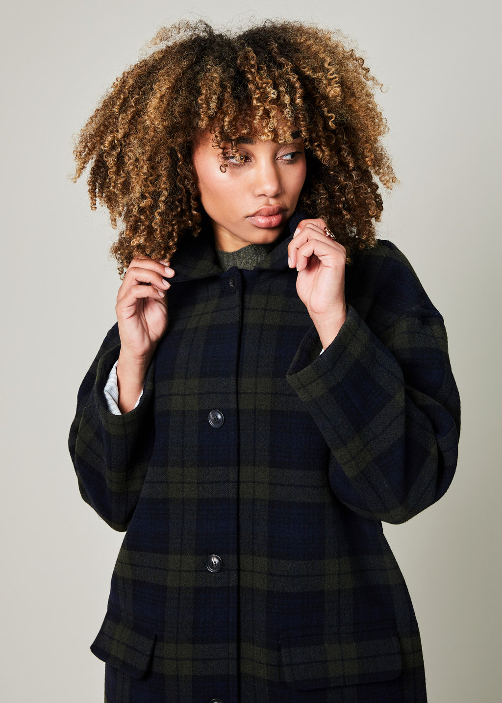 Christiane Tartan Wool Coat