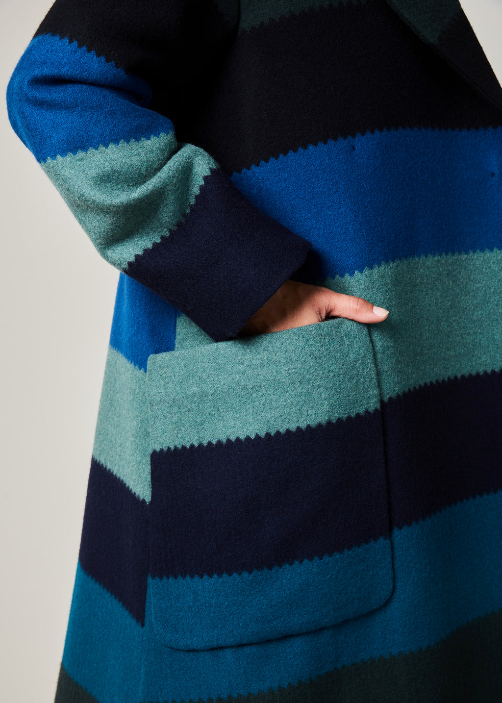 Sea Stripe Wool Coat