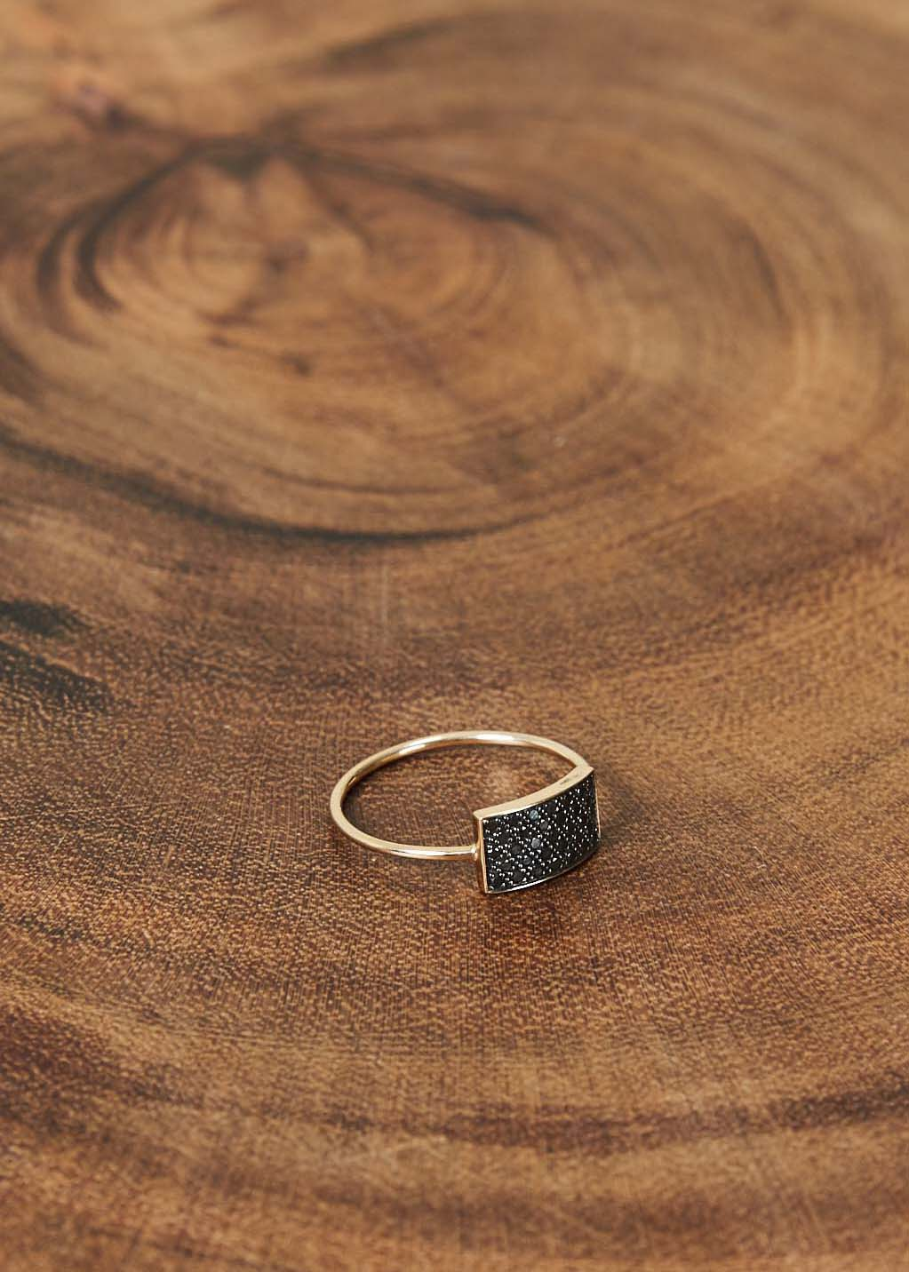 Mini Black Diamond Rectangle Ring