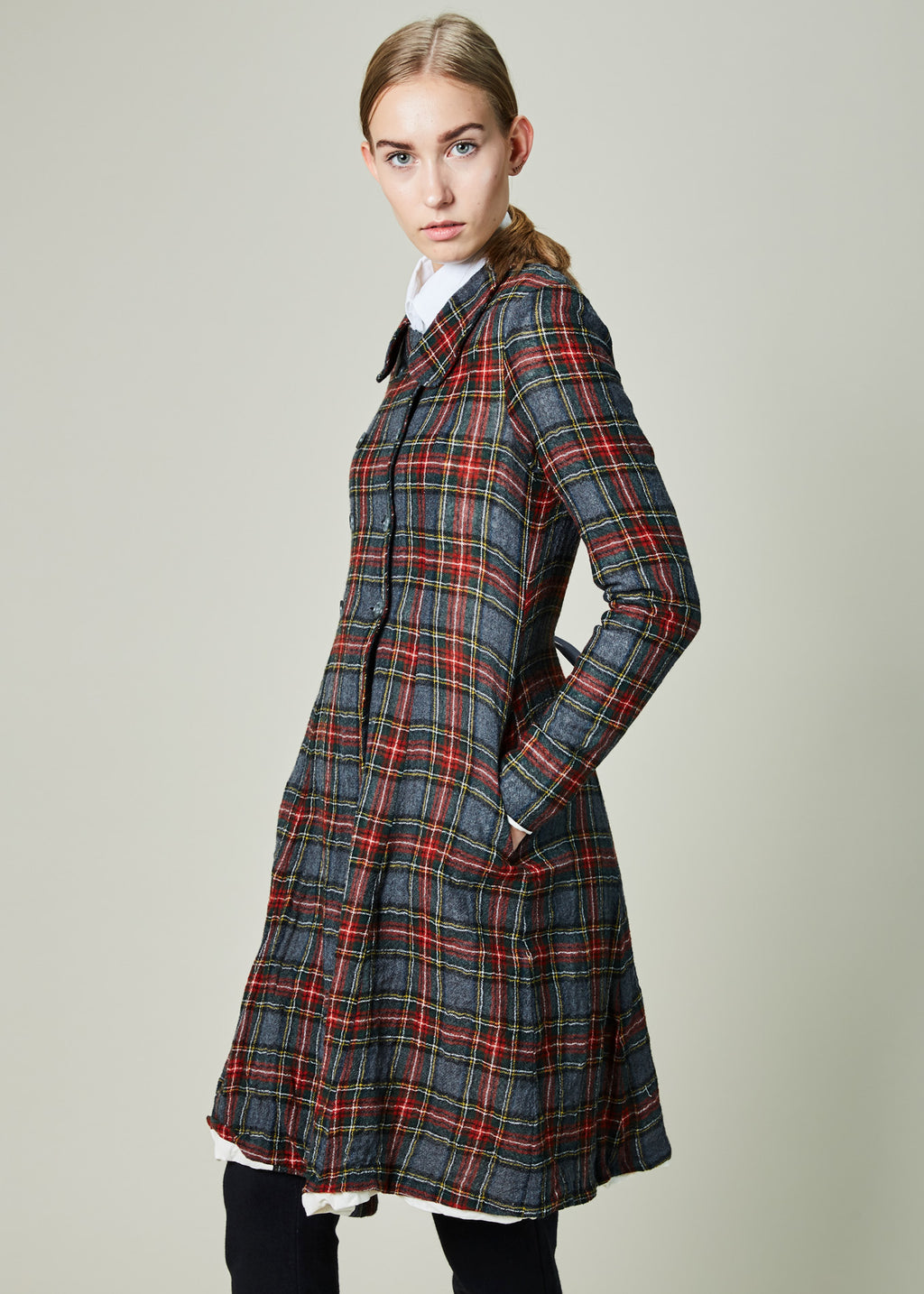 Fitted Plaid Coat