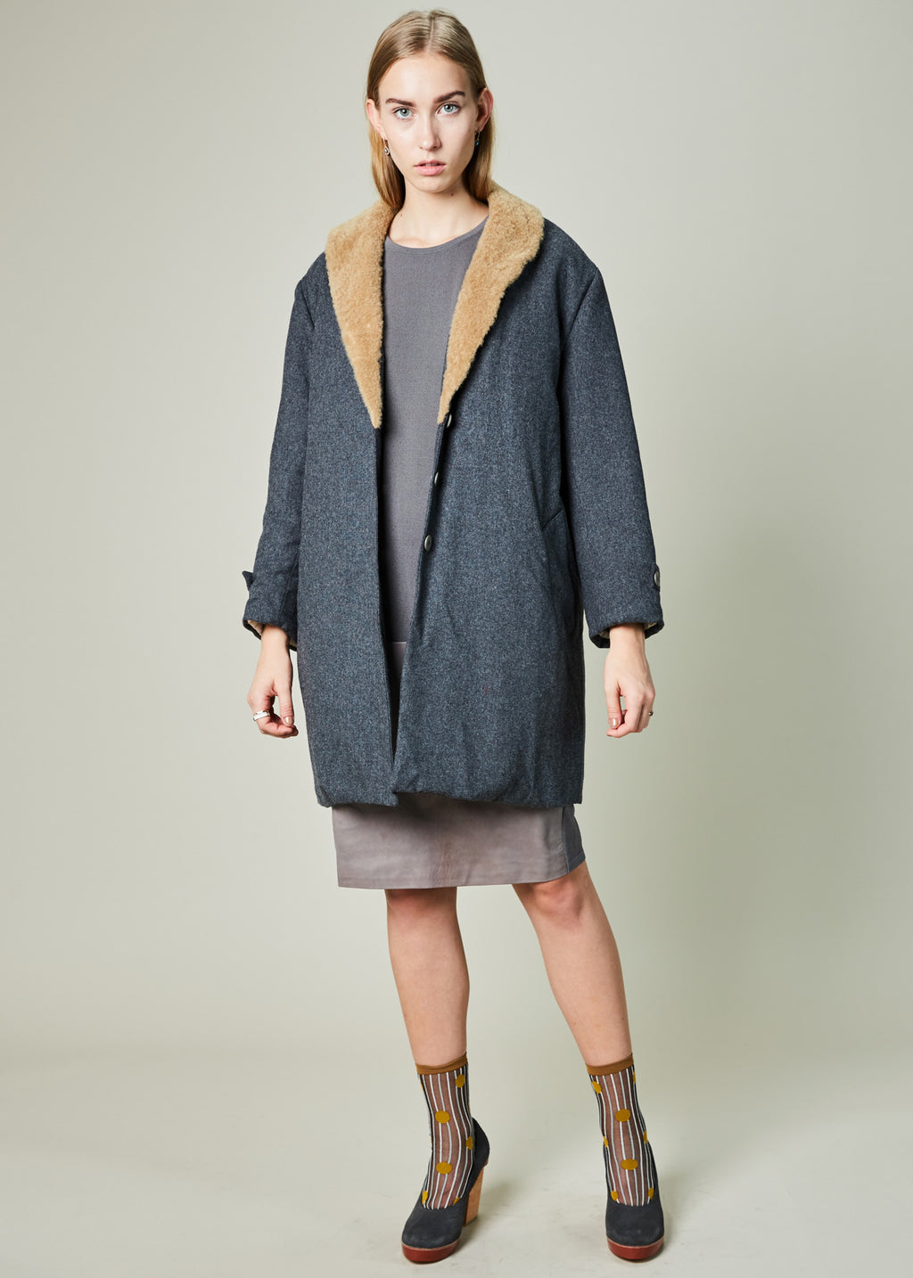 Shearling Collar Puffy Coat