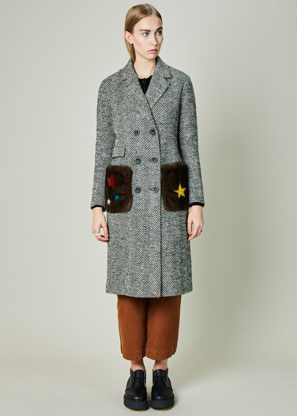 Star Pocket Herringbone Coat