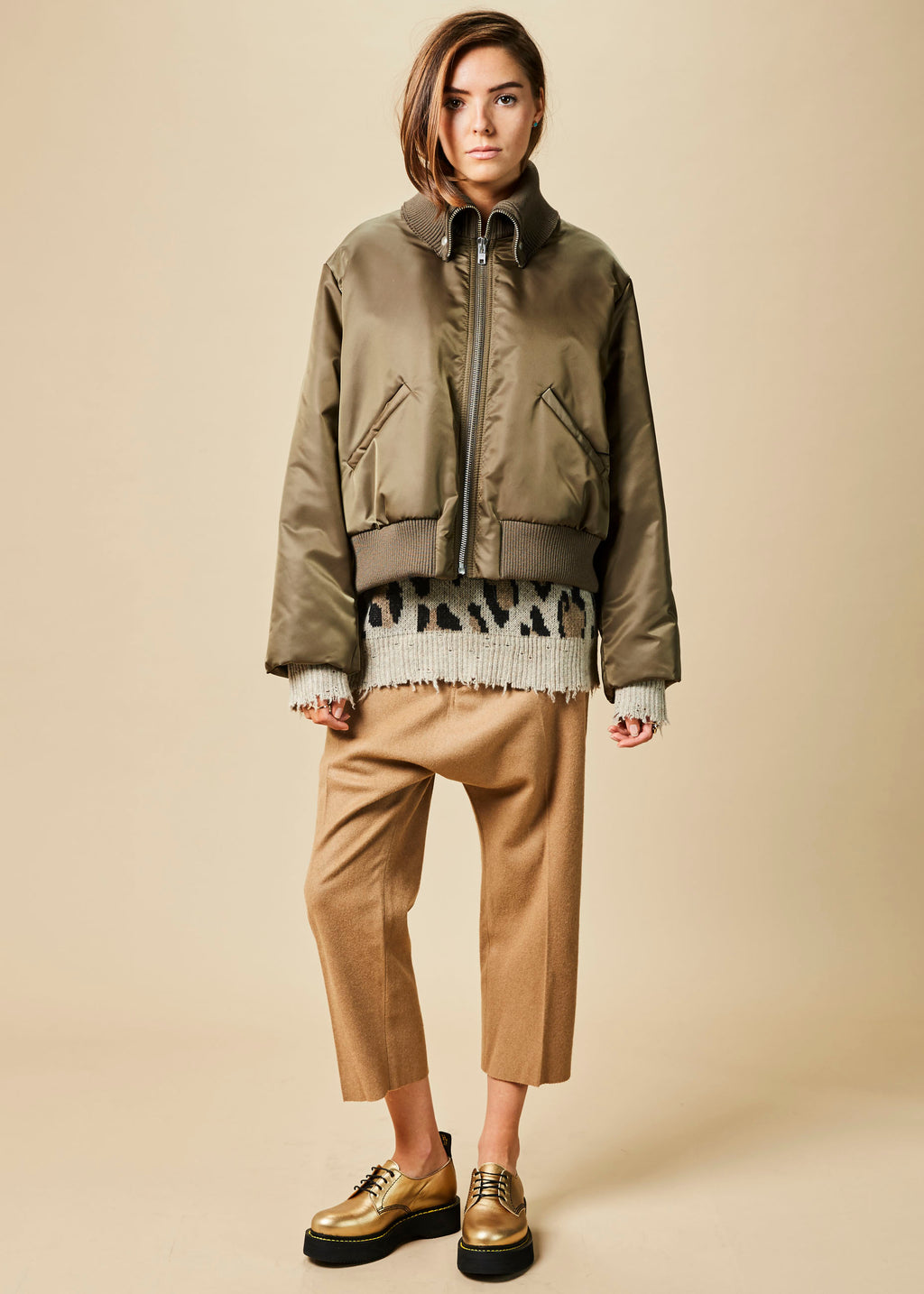 Fold-Collar Bomber Jacket