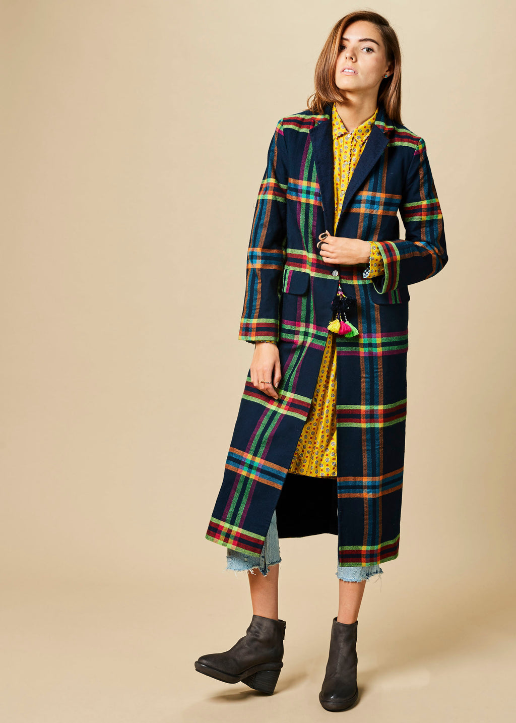 Neon Plaid Reversible Coat