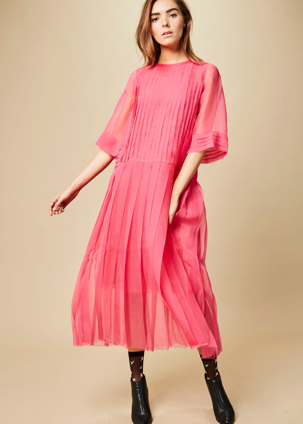 Pleated Chiffon Dress with Skirt Slip