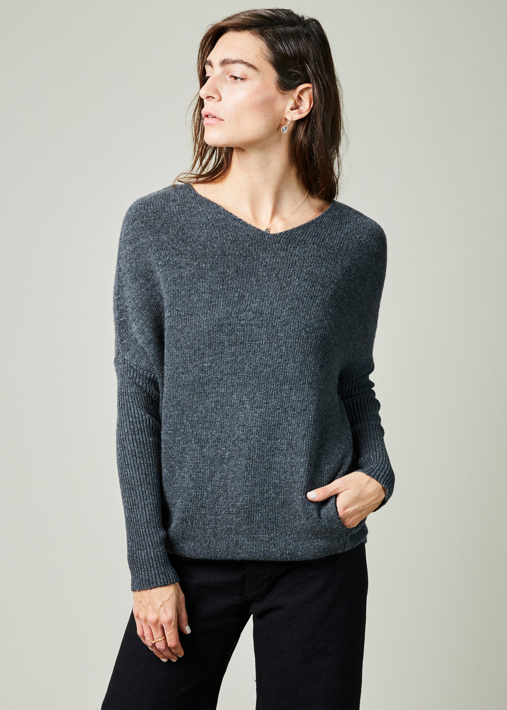 V-Neck Drop Shoulder Sweater