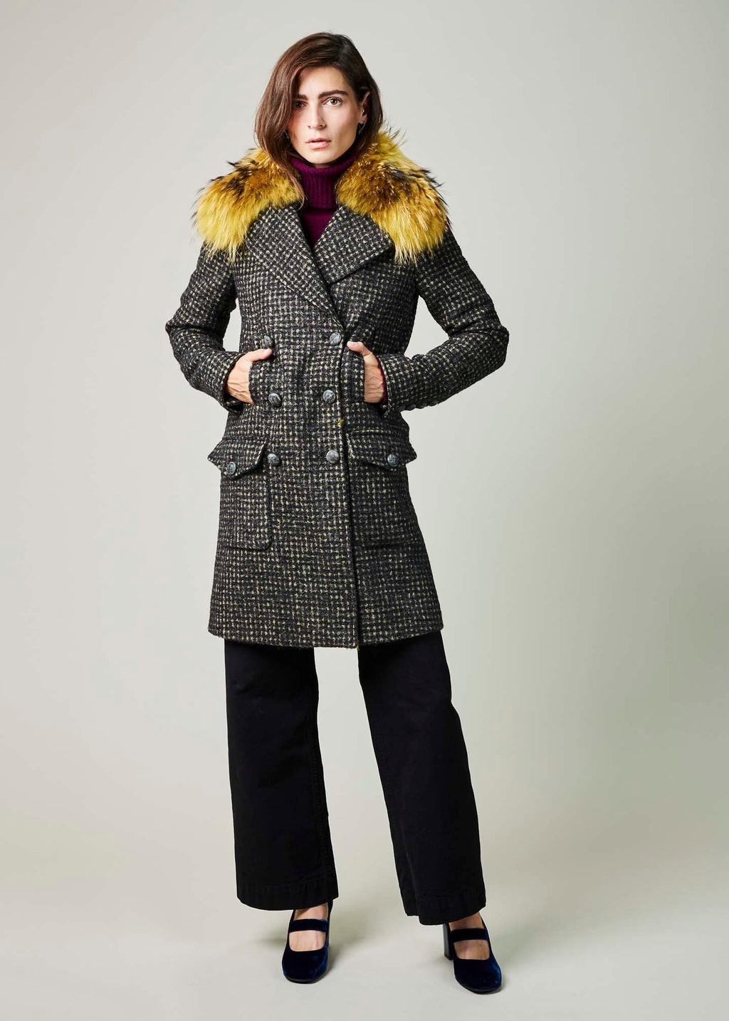 Double-Breasted Shawl Collar Coat