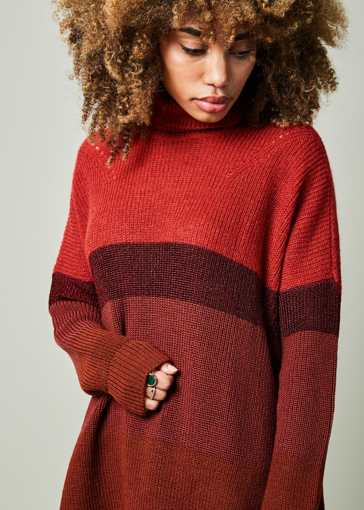 Mohair Blend Striped Turtleneck