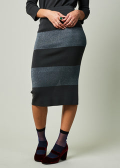 Lurex Stripe Pencil Skirt
