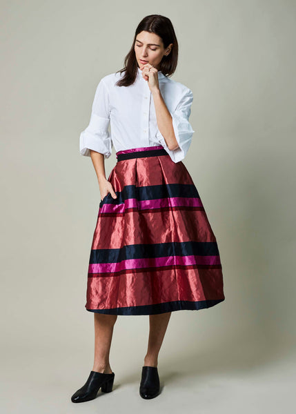 A-Line Stripe Pleated Skirt