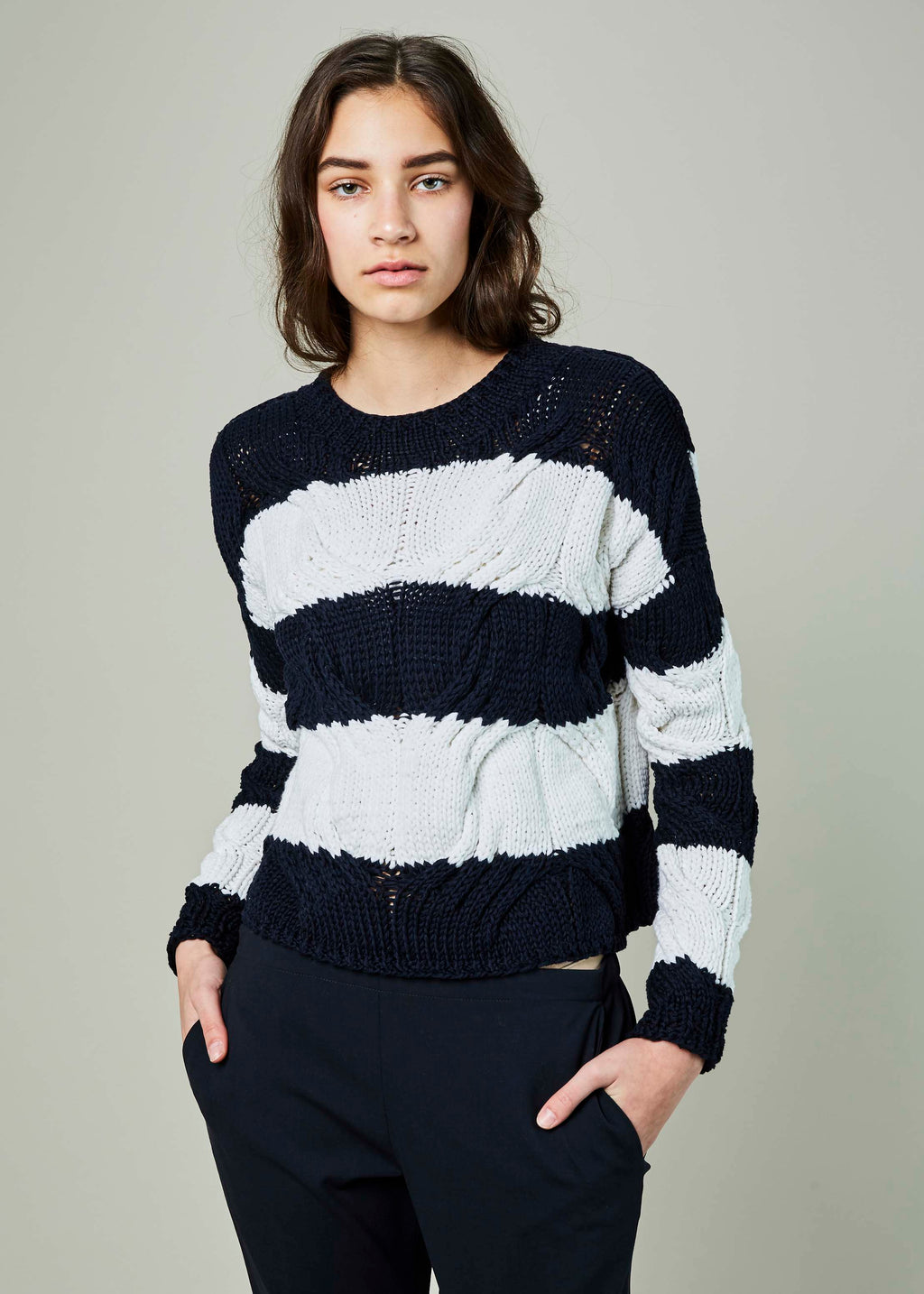 Rugby Stripe Cable Knit Sweater