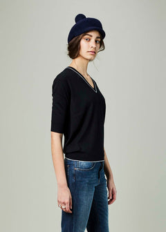Elbow Sleeve V-Neck Sweater