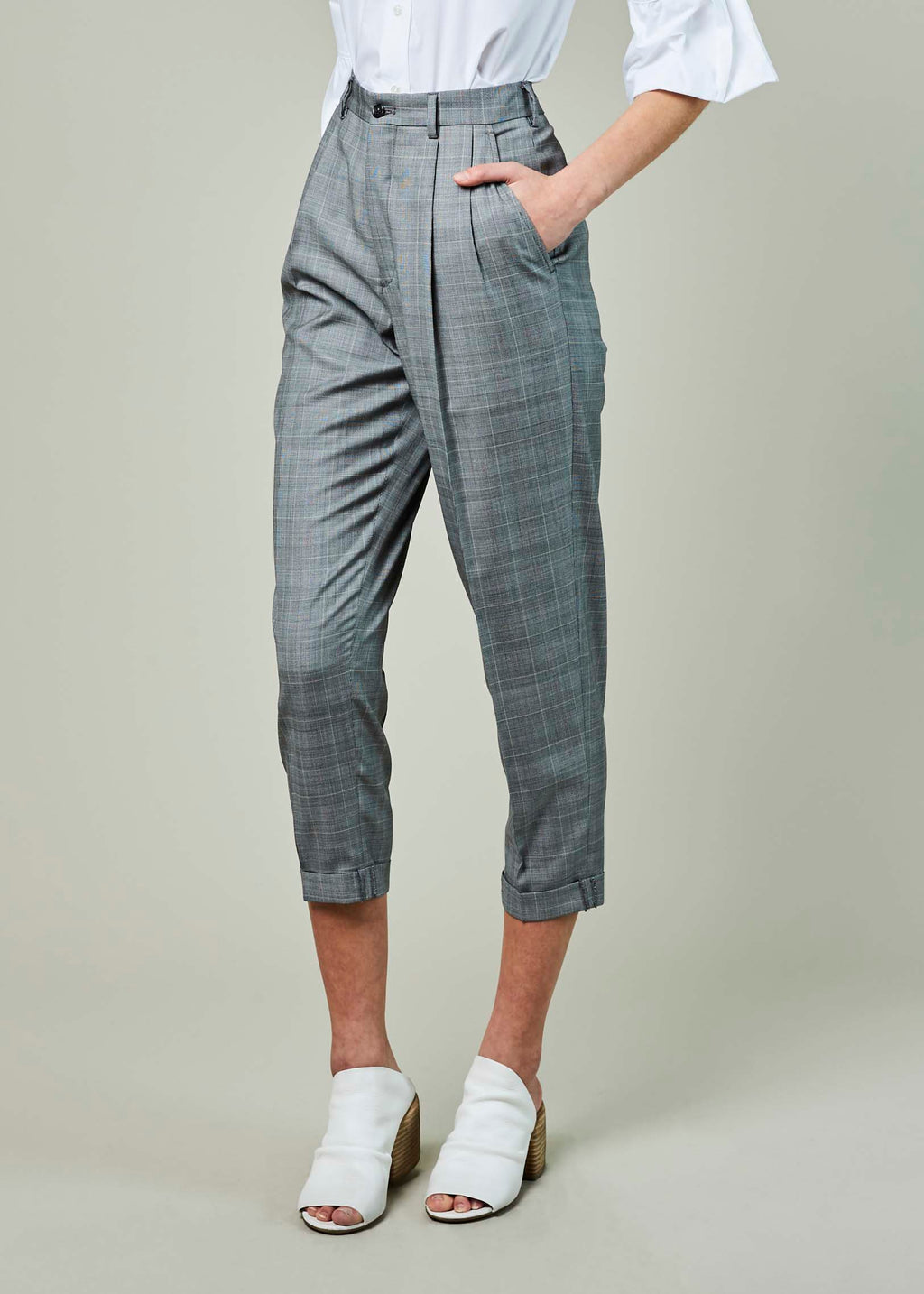 Glen Plaid Pegged Pant