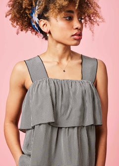 Micro Check Sundress Top