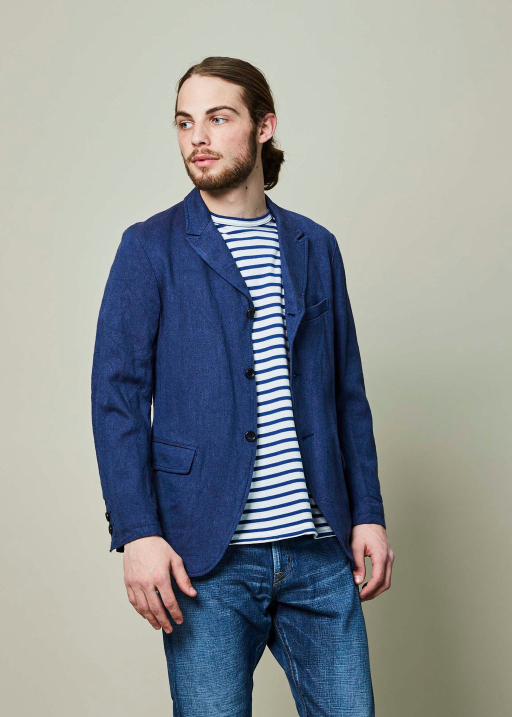 Three Button Unstructured Blazer
