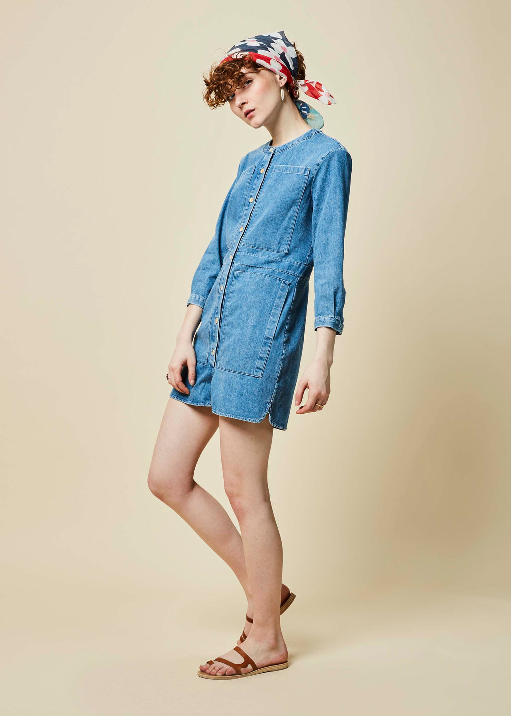c322fd6952b5 Four Pocket Denim Romper in Stone Washed by Happy Haus