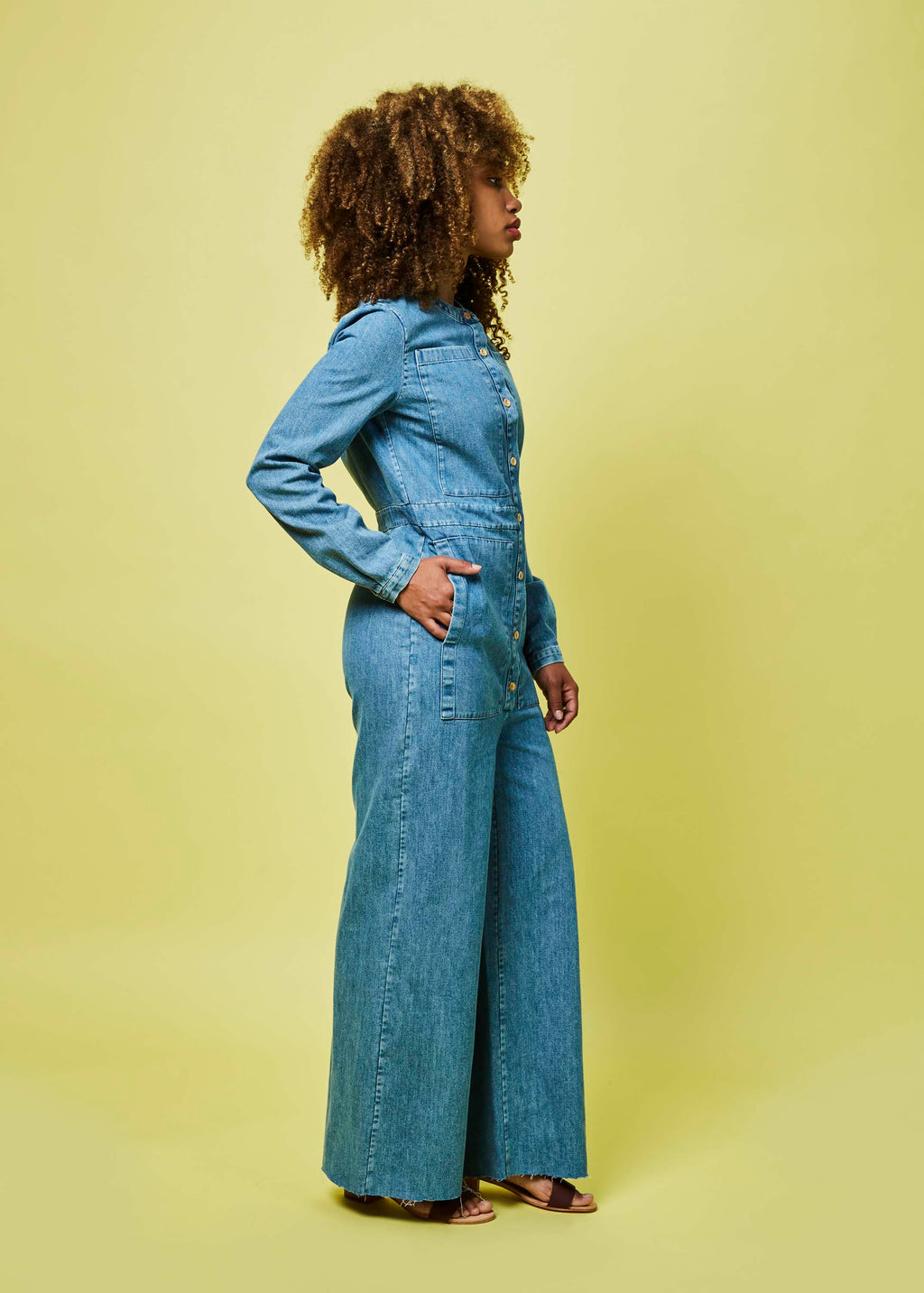 b6579c3228bc Four Pocket Denim Jumpsuit in Stone Washed by Happy Haus