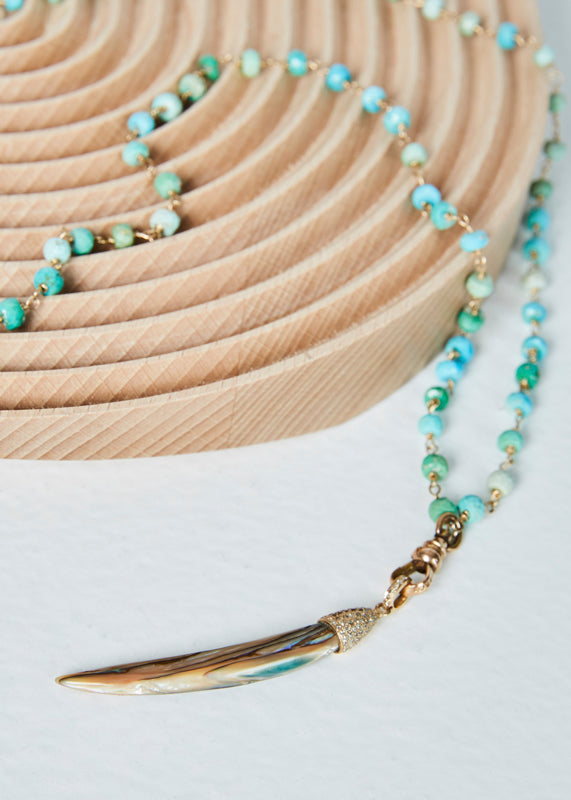 Jewels by Piper Abalone Tusk on Turquoise Bead Necklace
