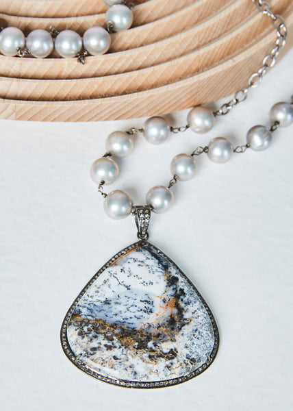 Agate and Diamond Pendant on Sterling Pearl Chain