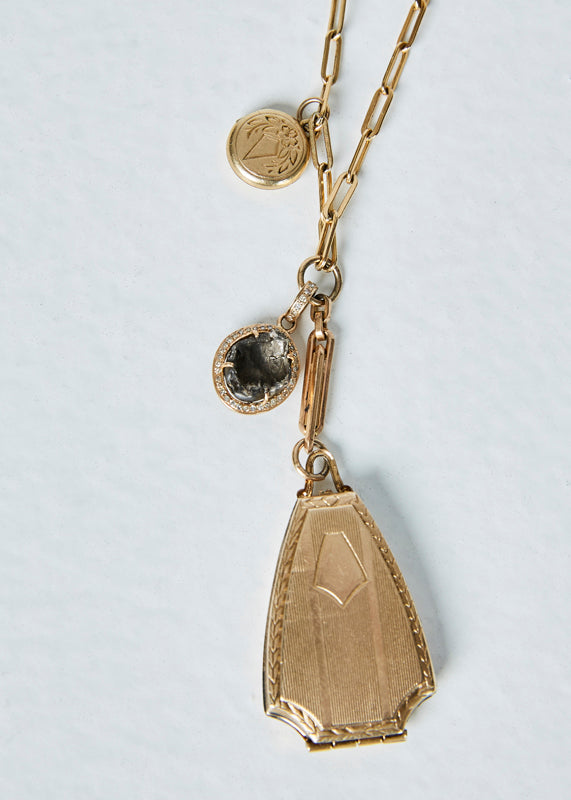 Antique Lockets and Druzy Necklace