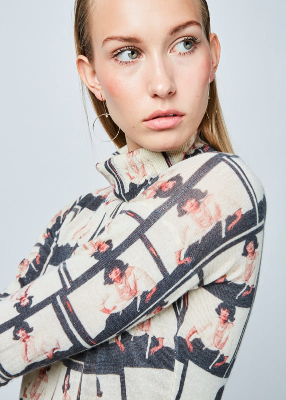 Printed Cashmere Blend Turtleneck