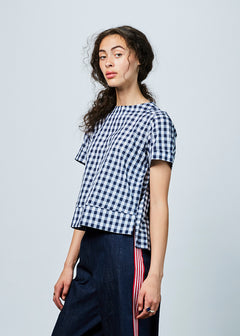 Back-Pleat Gingham Top