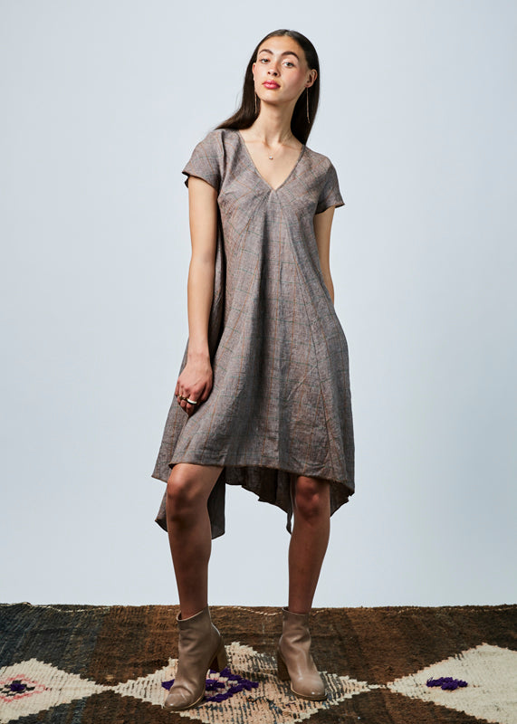 Windowpane Linen Dress