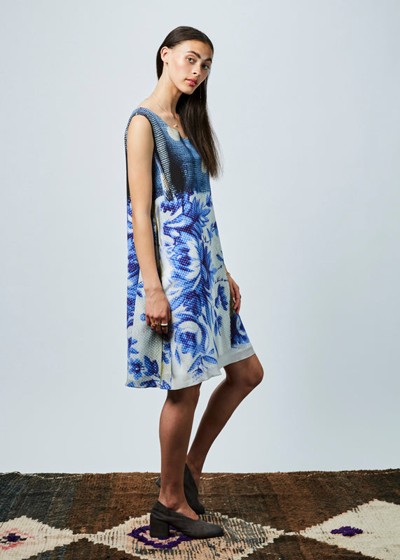 Sleeveless Flower Print Dress