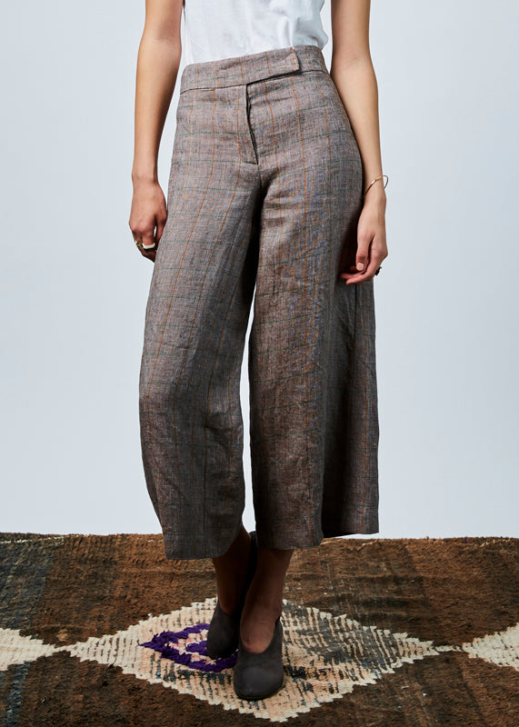 Wide Leg Windowpane Pant