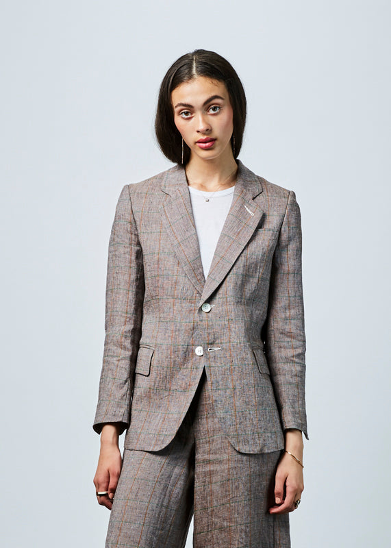 Windowpane Linen Blazer