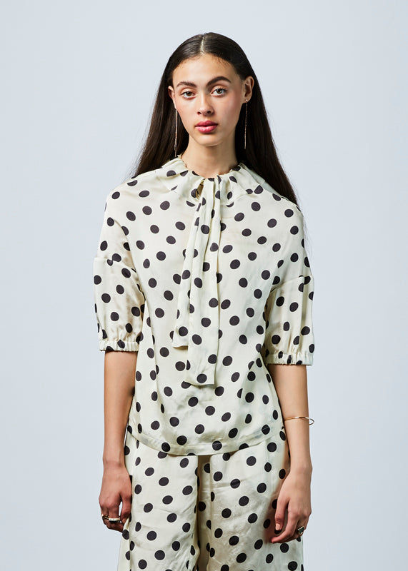 Bow Collar Dot Blouse