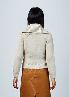 Cropped Knit Zip Sweater