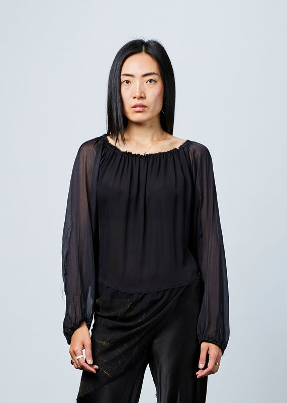 Sheer Sleeve Bias Top