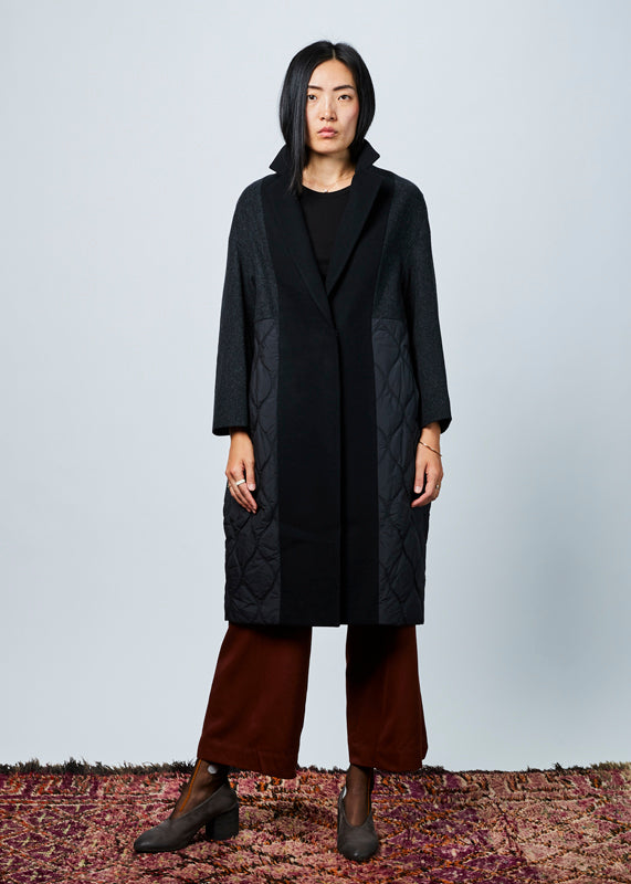 Quilted Wool Overcoat