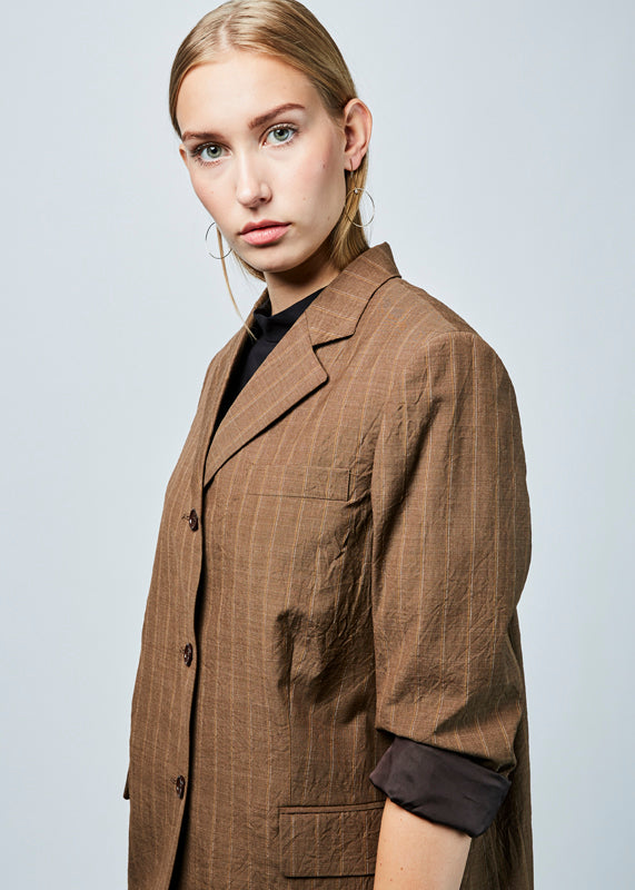 Lightweight Pinstripe Overcoat