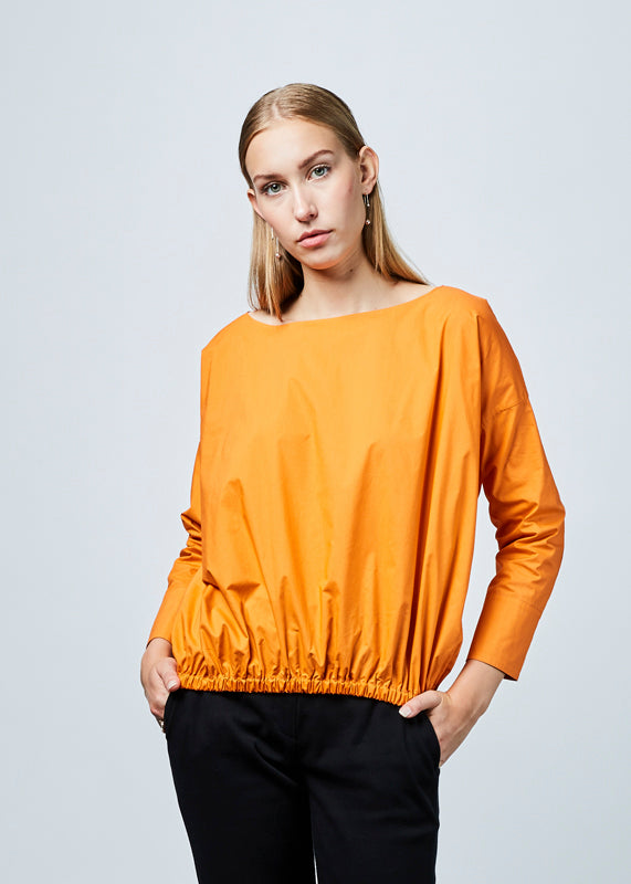 Boat Neck Gathered Blouse
