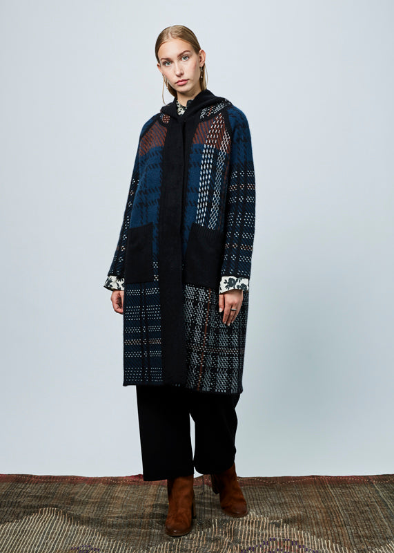 Hooded Knit Wool Coat