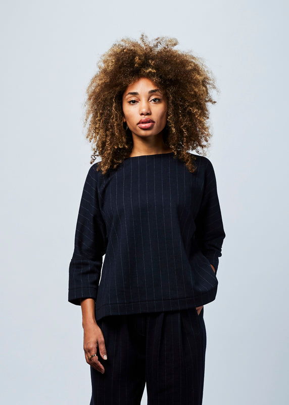 Pinstripe Wool Top